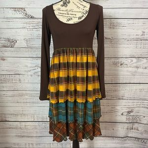 UNCLE FRANK TIERED PLAID  LONG SLEEVE TUNIC DRESS